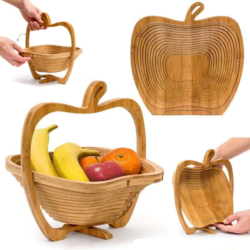 Cos pliabil decorativ din lemn pentru legume si fructe